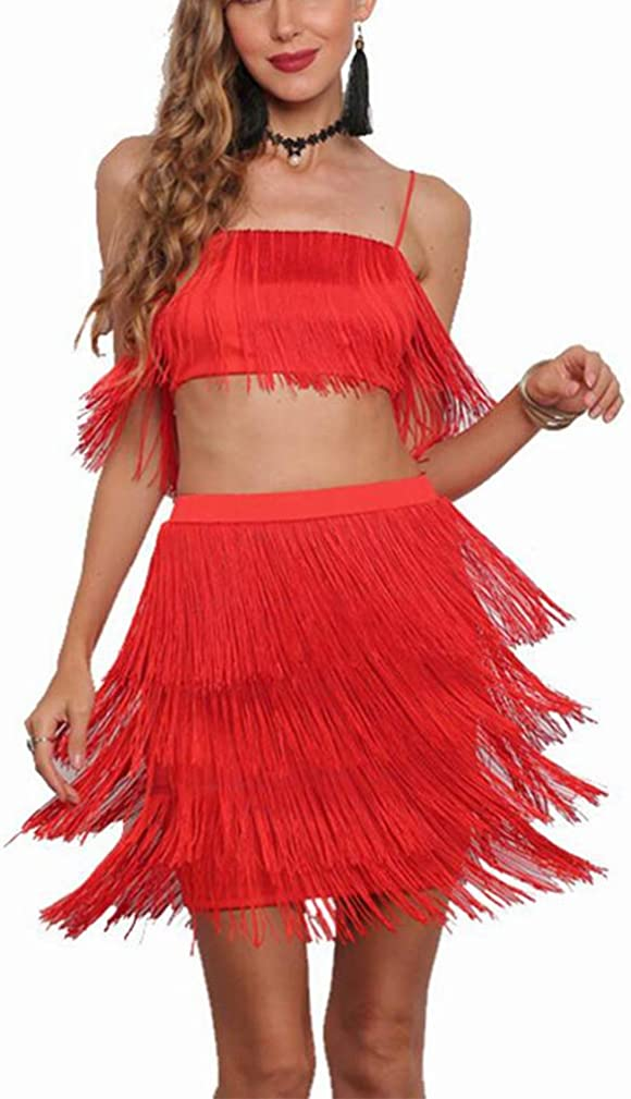 Engood Womens Sexy Two-Piece Dress Set High Waist Fringe Strap Crop Top Midi Skirt Suit Red M