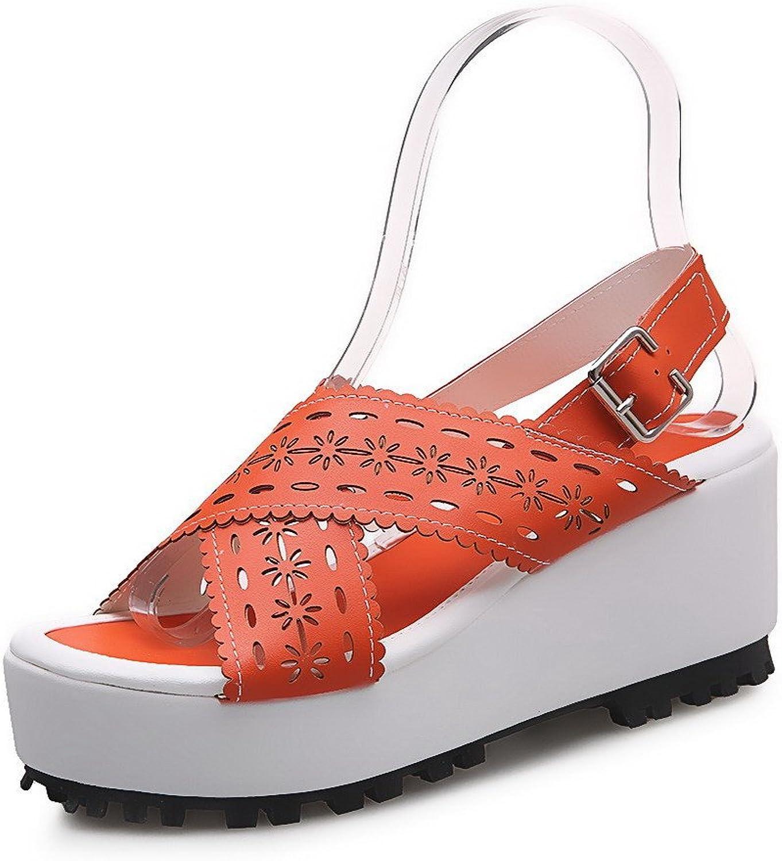 WeiPoot Women's Buckle High-Heels PU Solid Open Toe Platforms & Wedges