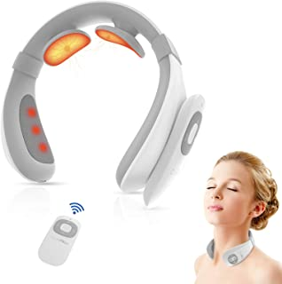 Electric Pulse Neck Massager for Pain Relief, Cunmiso Intelligent Neck Massage with Heat, 6 Modes 15 Levels Cordless Deep Tissue Trigger Point Massager, Portable Neck Massager for Women Men Gift