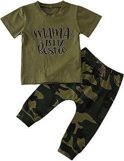Completo Bambino Casual Sportivo 2 Pezzi Maglietta con Maniche Corte Stampa di Lettere Corona Pantaloni Mimetico Verde 0-5 Anni