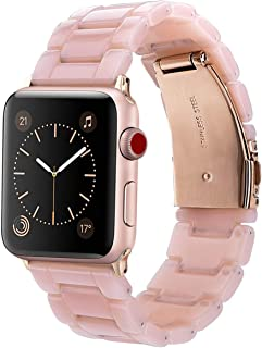 V-MORO Resin Band Compatible with Apple Watch Band 38mm 40mm Series 4/3/2/1 Women Men with Stainless Steel Buckle, iWatch Replacement Wristband Strap (Pink-Tone, 38mm)