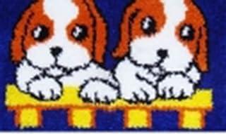 X-xyA Latch Hook Kit, Latch Rug Kit, Rug Making Kit, Pattern Printed Embroidered Cloth, Dog,Blue,20.5 inch X 15 inch