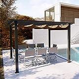 JFB Tonnelle autoportante 3x3m, Structure Aluminium et Toile Polyester Taupe
