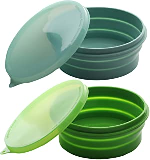 ME.FAN Silicone Collapsible Bowls - Silicone Folding Travel Bowl with Lids - Expandable Food Storage Containers Set - BPA Free, Portable, [27oz]