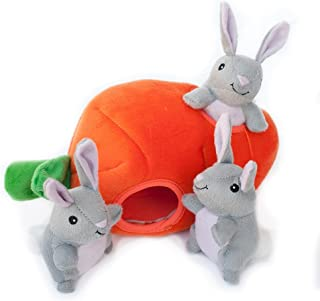 ZippyPaws Burrow Squeaky Hide and Seek Plush Dog Toy, Bunny 'n Carrot