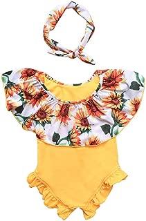 Toddler Baby Girl Sunflower Print Bikini One-Piece Swimwear Headband Outfits Set