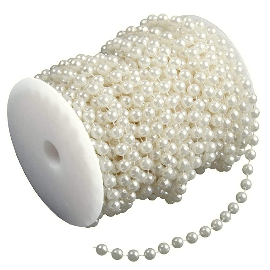 Ambox 8 mm Large Ivory Pearls Faux Crystal Beads by The Roll for Flowers Wedding Party Decoration