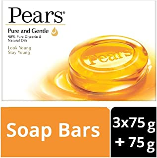 Pears Pure & Gentle Soap Bar, (3 X 75g + 75g) Buy 3 Get 1 Free