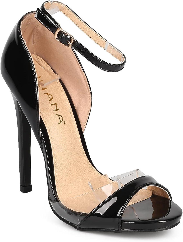 Liliana Women Patent Lucite Peep Toe Single Sole Stiletto Sandal DI18 - Black