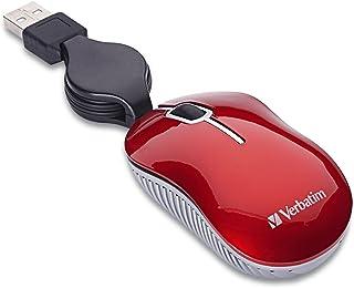 Verbatim Mini mouse óptico de viagem com fio USB para Mac e PC - série Commuter vermelha