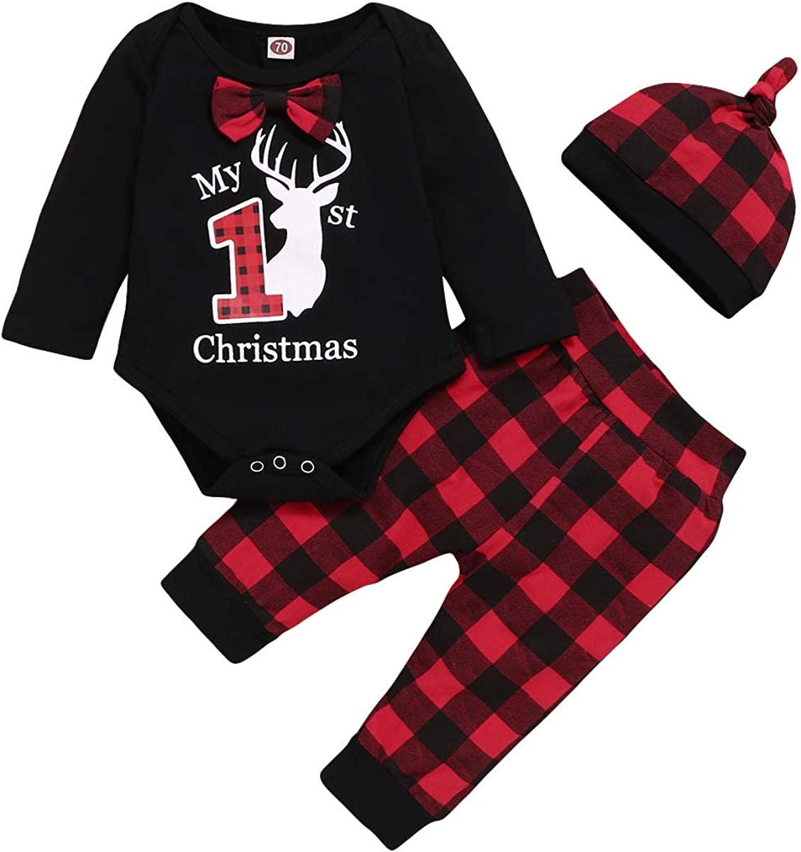 Baby Girl Clothes Toddler Merry Christmas Long Sleeve Ruffle Romper Plaid Pants with Headband 3Pcs Infant Girl Outfit Set