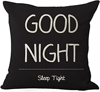 Nordic Warm Sweet Funny Inspirational Sayings Good Night Sleep Tight Cotton Linen Decorative Home Office Throw Pillow Case Cushion Cover Square 20 X 20 Inches