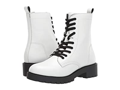 Steve Madden Guided Combat Boot (White Leather) Women