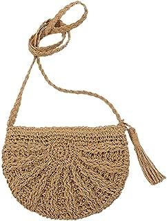 Everpert Tassels Beach Messenger Handbag Women Girl Crochet Straw Shoulder Bag/Beige