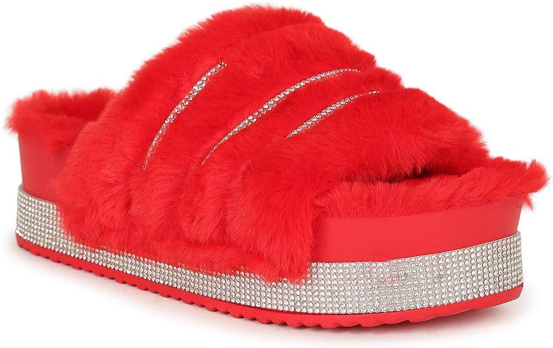 Rasolli Faux Fur Rhinestone Platform Plush Slide Sandal 20446 - Red Fur (Size: 8.0)