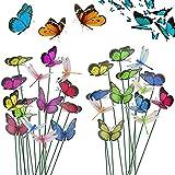 EMAGEREN 40 Pcs Papillon de Jardin 8 Pcs Libellule Jardin Coloré en PVC...