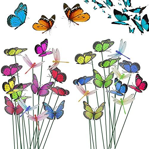 EMAGEREN 40 pcs Estacas de Mariposas + 8 pcs Libelulas para Jardin en Palos Coloridas Mariposas Decorativas Jardin Adorno de Mariposas y Libélulas para Decoración de Jardín Fiesta Césped Patio