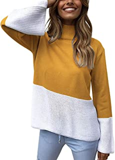 MOLFROA Womens Casual Turtleneck Long Sleeve Two Color Stitching Sweater Pullover
