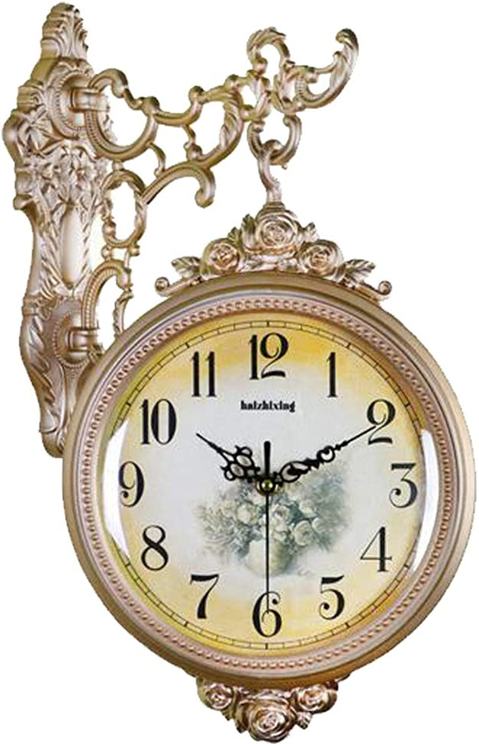 YONGMEI Wall Clock - Antique Double-Sided Living Room Wall Clock Large Mute Fashion Garden Simple Creative Modern Quartz Clock (color   gold, Size   45  31cm)