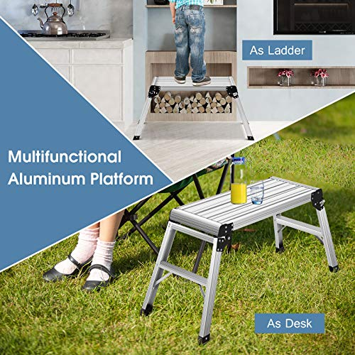 RELAX4LIFE Work Platform Step Ladder Folding Heaty Duty Aluminum EN 131 Certified with Non-Slip Mat for Motorhome,Traile, SUV 330LBS Weight Capacity Folding Ladders Stool