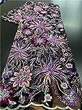 Bordado Telas de encaje de malla africana Telas de encaje de lentejuelas Tela de cordones de secuencia de patr¨®n de flores para encaje de red nigeriano APW3198B-3198B-2