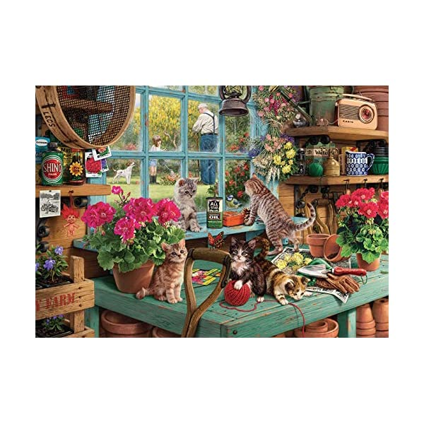 Puzzles for Adults 1000 Piece, Wooden Window Cats Jigsaw Puzzles for Family Friends