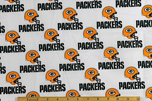 """Green Bay Packers Football NFL 58"""" Wide Fabric by The Yard"""