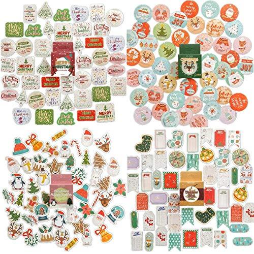 NLRクリスマステーマステッカー | 84種類のデザインの183個 | クリスマスホリデーデコレーション&封筒シール用