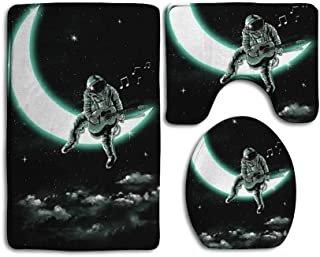 SARA NELL Bathroom Rug Mats Set 3 Piece & Memory Foam Extra Soft Shower Bath Rugs & Contour Mat and Lid Cover & Astronaut Play The Guitar on The Moon