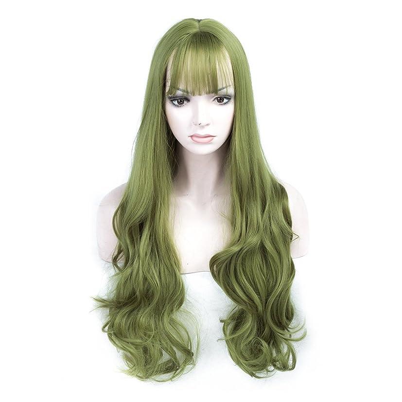 引き出す手入れ小康女性のためのかつら女性のための緑の合成のヘアピース自然なウイッグウィッグ現実的な見る