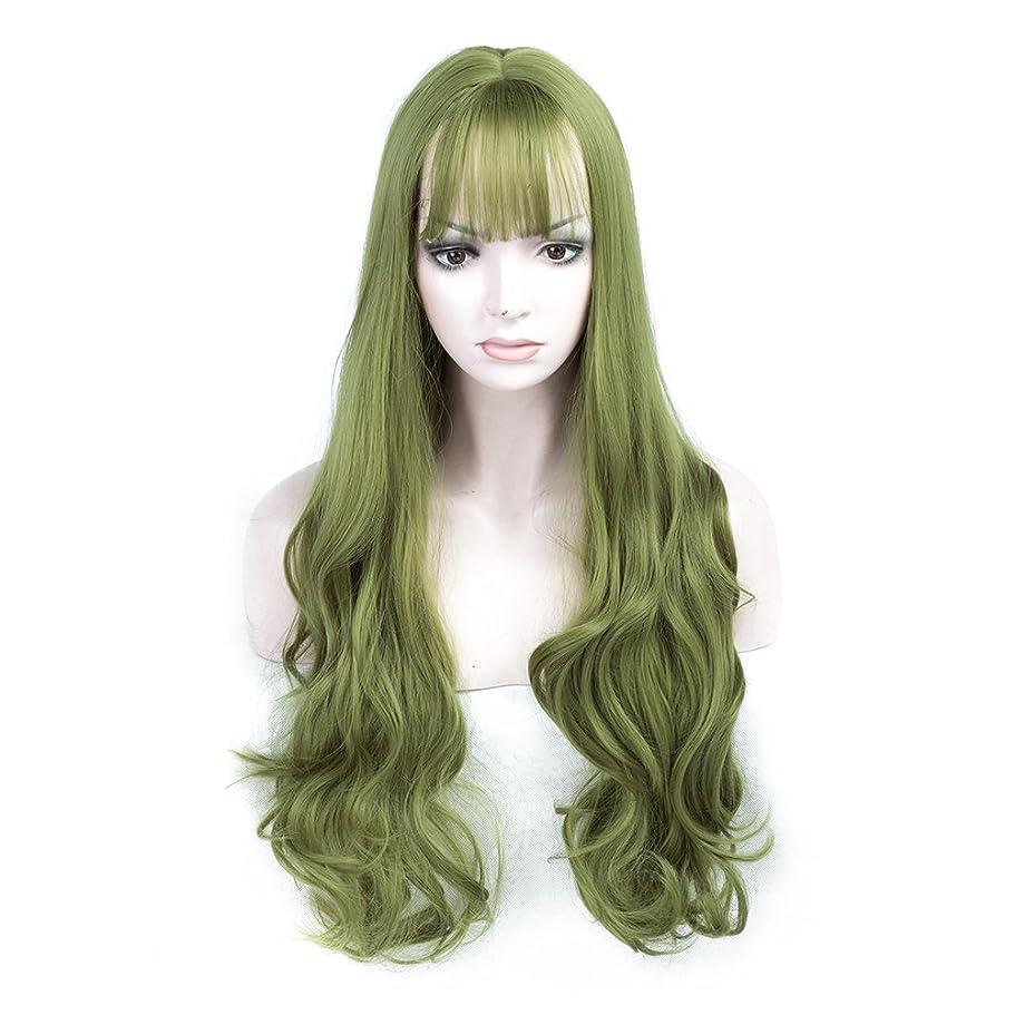 任命十分に歩行者女性のためのかつら女性のための緑の合成のヘアピース自然なウイッグウィッグ現実的な見る