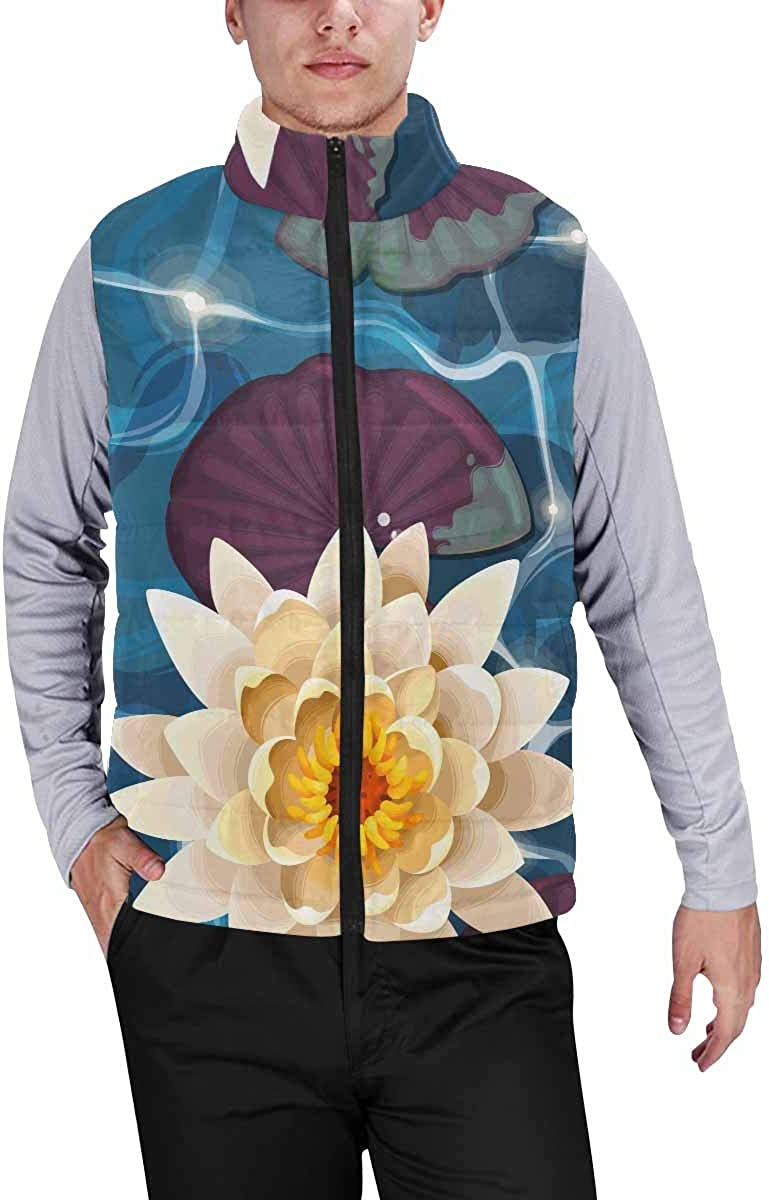 InterestPrint Men's Outdoor Casual Stand Collar Padded Vest Coats Camper Caravan Let's Go Camping