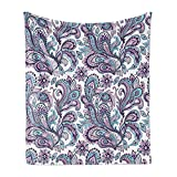 Ambesonne Paisley Soft Flannel Fleece Throw Blanket, Blue and Purple Flowers Leaves Floral Pattern Bohemian Style Country Print, Cozy Plush for Indoor and Outdoor Use, 50' x 70', Purple Blue