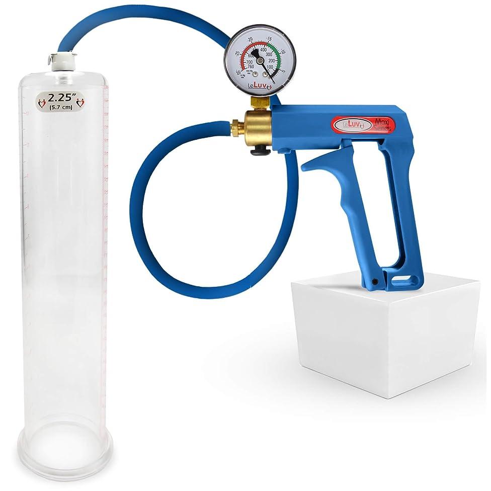 LeLuv Maxi Blue Plus Vacuum Gauge Penis Pump Bundle with Premium Silicone Hose 12