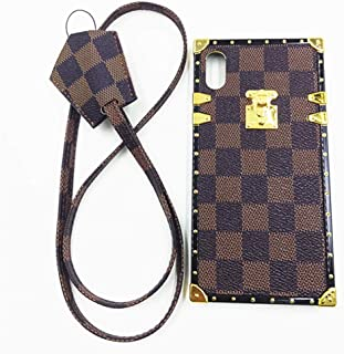 Jiehao iphone XS iPhone X Case, Vintage Elegant Luxury Designer Lattice PU Leather Back with Lanyard Soft Bumper Shock Absorption Trunk Cover Case for Apple iphone XS X 5.8