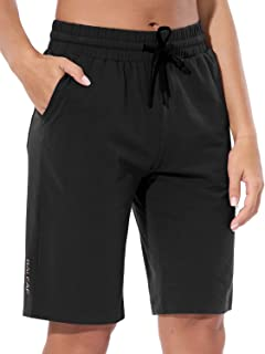 "EVO Women's 10"" Comfy Soft Bermuda Shorts Lightweight Yoga Pajama Jersey Shorts Lounge Long Pocket Shorts"