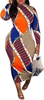 Women Sexy Long Sleeve Turtleneck Floral Stripe Print Bodycon Slim Sheath Long Midi Pencil Dress