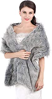 Aukmla Long Wedding Faux Fur Wraps and Shawls Wedding Bridal Stole for Brides and Bridesmaids