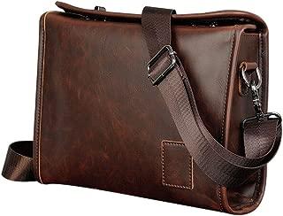 FeliciaJuan Office Men Business Briefcase Dark Brown Leather Retro Style Portable Messenger Bag Messenger Bag Handbag 14 Laptop Bag