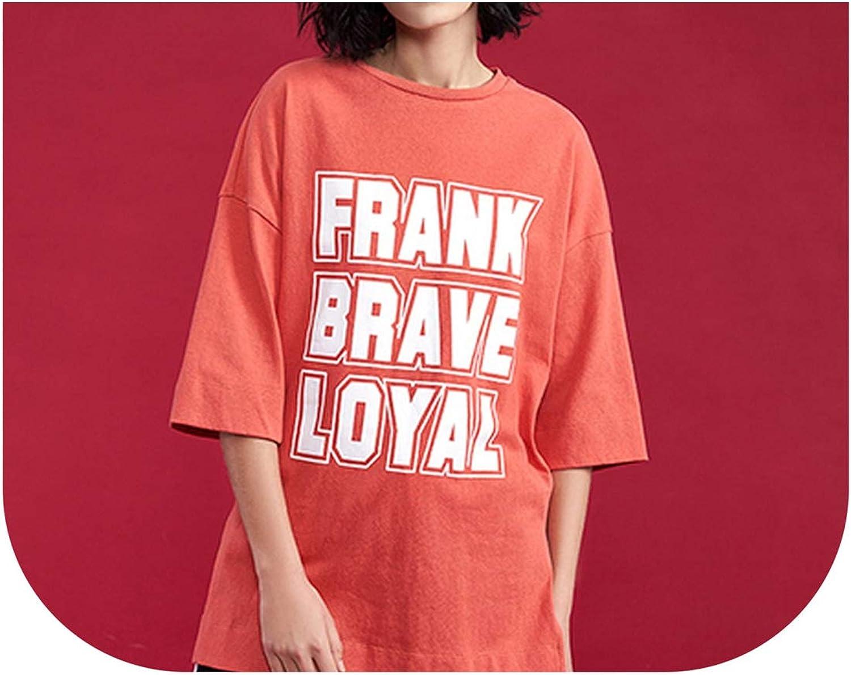 Harajuku Printed T Shirt Section Split Femme Loose Woman Tops