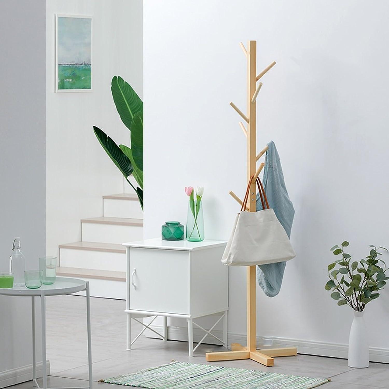 Coat Rack Wood 8 Hooks Bedroom Living Room Corridor Floor-Standing Simple Fashion Clothes Rack (color   Wood color)