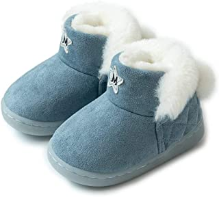 BFOEL Boys Girls House Slippers - Winter Warm Boots Shoes with Fluffy Lining for Toddler Little Kids