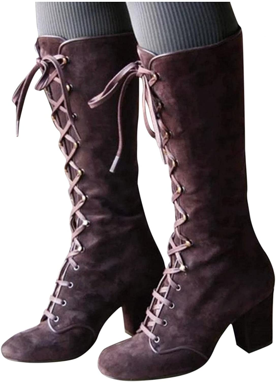 Gibobby Boots for Women Fashion Knee High Boots Round Toe Lace U