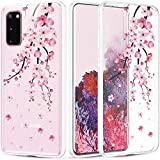 Caka Clear Case for Galaxy S20 Case Cherry Flower for Women Girls Glitter Bling Flexible Slim Soft Protective Clear Phone Case for Galaxy S20 5G 6.2 inch (Cherry Blossom)