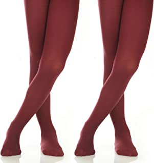 Girls' Microfiber School Winter Opaque Footed Tights (2 Pairs)