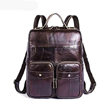 Mens Leather Bag Genuine Leather Retro Men Travel Bag Cowhide Laptop Bag Large Capacity Backpacks Bag (Color : Brown, Size : S)