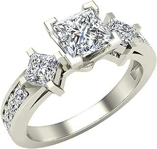 Three-Stone Princess Cut Diamond Engagement Ring for women Past Present Future 1.15 ctw 14K Gold (J,I1)