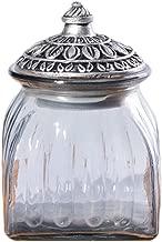 SOCOSY Vintage Crystal Glass Candy Jar with Lid Food Jar Nut Jar Jewelry Box Wedding Candy Buffet Jars Kitchen Storage Assorted Color 24 oz