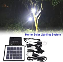 GOTOTOP 4W Outdoor Solar Power Panel 3 LED Bulbs Lamp Charger Garden Home Mobile Light System Kit