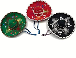 YAJUA Mariachi Mexican Small Sombrero 6 inches, for Mexican Themed Party (Assorted Set of 3)